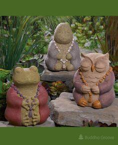 Stone Garden Animals Cast stone meditating zen garden animal statues set of three zen karma animal garden statues set of 3 workwithnaturefo
