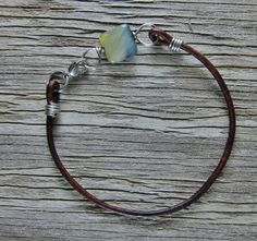 Honey Blue Tiger's Eye on Stainless Steel / Leather Bracelet by EndogenousDesigns on Etsy