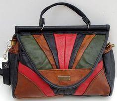 French Vintage Shoulder Bag, Patchwork Leather Bag