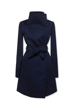 Lapel Dark Blue Coat wear it over brown or black outfit, one coat, two color tones, multiple styles! (Because there is usually more than one interview ;) )