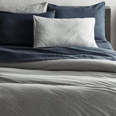 recycled jersey grey full/queen duvet cover | CB2