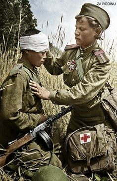 Wounded son of the regiment - Wounded Russian child soldier is patched up by a child medic in the field. Among other things, notice how casually the submachine gun is placed (for propaganda purposes of course) and how the nurse doesn't seem to mind it pointing at her. Try to imagine that happening now.