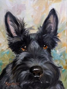 "CANVAS PRINT Scottish Terrier Scottie Dog ""Missing You"" brindle black scotty puppy/ Mary Sparrow unstretched and rolled"