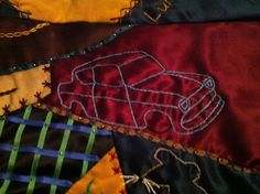 Harry Potter Quilt Embroidery, the Weasley's Flying Ford Anglia