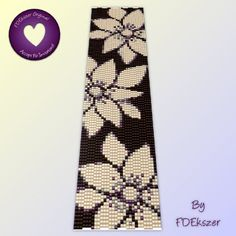 Flax FLowers - Peyote Stitch Beading Pattern for cuff bracelet - PDF - bp95 / buy any 2 patterns GET 1 FREE special offer