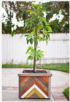 Chevron wood planter!