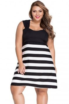 Plus Size Black And White Block Stripe Skater Dress 2X-3X  Unbranded  Midi bb437b825e71