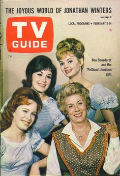"TV Guide, February 1964 - ""Petticoat Junction"" Linda Henning, Bea Benaderet, Pat Woodell and Jeannine Riley Petticoat Junction, Vintage Television, This Is Your Life, Vintage Tv, Vintage Magazines, Vintage Stuff, Old Shows, Tv Land, Tv Episodes"