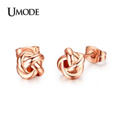 UMODE Rose Gold Plated Classic Design Love Knot Post Stud Earrings JE0140A-in Stud Earrings from Jewelry on Aliexpress.com | Alibaba Group