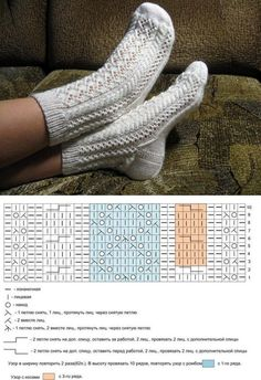 Crochet ideas that you'll love Lace Socks, Knitted Slippers, Crochet Slippers, Knit Crochet, Lace Knitting, Knitting Socks, Knitting Stitches, Knitting Patterns, Knit Socks