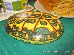 I painted this rock turtle as a wedding gift