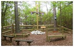 "Located in the woods behind their church, the Marvin United Methodist Church in Martinez, GA has a small prayer garden that also serves as an outdoor sanctuary. ""A twelve foot cross sits in the clearing surrounded by nine wood benches placed randomly in the trees and plants. ... The prayer garden is there for all to use, to talk with the Lord, and to discover Christ through the Love and Grace of God."""