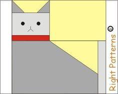 Cat  paper pieced quilt block