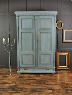 This antique wardrobe from The Netherlands is painted in a stunning stand-out blue with inner drawer in Duck Egg Blue. We love its rustic charm with lightly distressed and aged effect. http://www.thetreasuretrove.co.uk/bedroom-storage/large-shabby-chic-blue-double-wardrobe-with-drawer #shabbychicbathroomsdiy