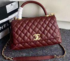 536013f4255c Chanel Burgundy Calfskin Lizard Coco Handle Small Bag - Bella Vita Moda   chanel