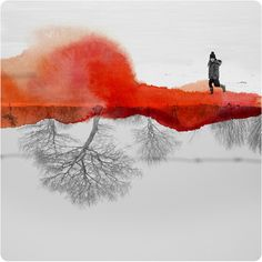 French artist Fabienne Rivory combines photography and watercolor paints to create these breathtaking images. Using gouache or inks to create texture, shading and bright areas of color, Rivory digitally combines the paintings with. Mirror Photography, Fine Art Photography, Landscape Photography, White Photography, Reflection Photography, Conceptual Photography, Photography Gallery, Fotografia Fine Art, Inspiration Artistique
