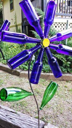 Upcycled Glass Bottle in the Garden Garden Decor