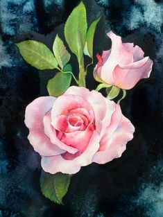 """Rose in romantic"" Watercolor by LaFe /Thailand"