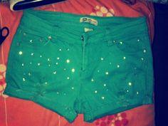 pantalon verde agua con tachas