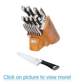 Chicago Cutlery 1090390 Fusion 18-Piece Knife Block Set, Stainless Steel with Honey Maple Wood Block