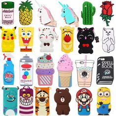 Cartoon For Various iPhone Cute Animals Soft Silicone Case Cover Back Skin Iphone 6, Iphone Phone Cases, Phone Charger, Cute Cases, Cute Phone Cases, Diy Pop Socket, Pop Sockets Iphone, Lg Phone, Smartphone