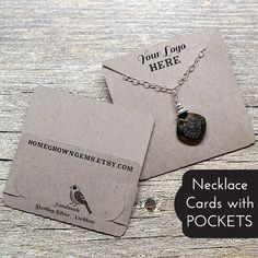 Necklace Display Cards with built in Pocket Custom printed necklace display cards that fold in the back to create a pocket to hold your chain. These cards can be customized to have your logo and text on the font and other information on the back fold. They will have two slits to hold the chains unless you request something different.  DESIGN: Cards will be made with a logo/image you send us, no custom images will be designed.  NO LOGO? No worries, choose any image you see in my sh...