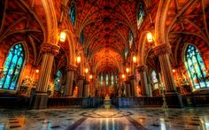 Religious Cathedral Of The Immaculate Conception  Cathedral Church Architecture Religious Columns Arch Altar Colors Colorful Wallpaper