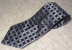 """Calvin Klein Men's Necktie Tie Blue Black Gray Print Silk RN19388 59""""x4"""" #18 JB #CalvinKlein #Tie"""