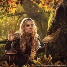 Middle Earth female forest elf by Magali Villeneuve Fantasy Girl, Fantasy Magic, High Fantasy, Fantasy Women, Fantasy Rpg, Medieval Fantasy, Fantasy Artwork, Character Portraits, Character Art