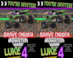 Monster Jam Themed Monster Truck Birthday Party Invitation
