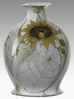 pottery & porcelain, Holland, A J.W. Van Rossum, Rozenburg porcelain eggshell bud vase with spider in web, [and sunflower], 1903.