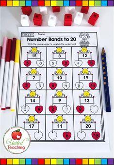 First Grade Math Worksheets, 1st Grade Activities, 1st Grade Math, Literacy Activities, Grade 1, Centers First Grade, Math Centers, Valentines Day Holiday, Valentines Day Activities