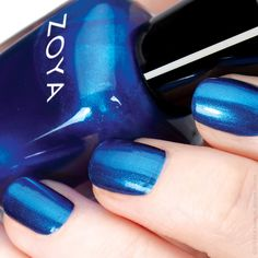 Zoya Nail Polish in Estelle can be best described as a blue on blue liquid metal with a blackened base. Hot Blue, Blue Nail Polish, I Feel Pretty, Nail Care, Swatch, Liquid Metal, Make Up, Glitter, Nails