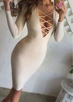 Sexy Solid Color Plunging Neck Breast Hollow Out Bodycon Dress For Women Tight Dresses, Sexy Dresses, Cute Dresses, Sleeve Dresses, Cheap Dresses, Formal Dresses, Vestidos Sexy, Sexy Outfits, Cute Outfits