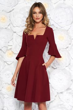 Burgundy StarShinerS office midi cloche dress soft fabric with ruffled sleeves, flaring cut, 3/4 sleeves, soft fabric, Ruffled sleeves