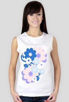 koszulka bez rękawów-kwiaty