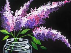 16 EASY Acrylic paintings you can do with cotton Swabs. Q-tips How to paint Lavender in Mason Jar Easy Beginner Acrylic painting By The Art Sherpa