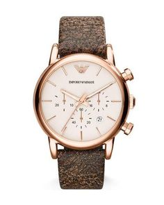 N3YWZ Emporio Armani Large Rose Golden Chronograph Watch w/ Matte Leather Strap, Brown
