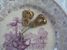 Antique Filigree Hat Pins with Gold Wash French Set of 2