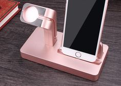 2 IN 1 Charging Dock * Color : Black, White, Gold, Rose * Material : ABS + NON-slip silicone * Weight : 164g/5.79oz * Size : 105 x 78 x 155mm / 4.1 x 3.1 x 6.1 inches * Apply : For iPhone 6, 6S plus,  if I get my phone and my apple watch   cadence edited