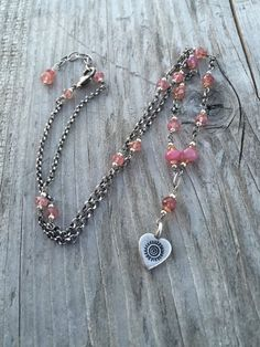Pink Sapphire and Heart Pendant Necklace, Boho Necklace, Sundance Style… Natural Sapphire, Sapphire Gemstone, Pink Sapphire, Gemstone Beads, Thing 1, Pink Gemstones, Bohemian Necklace, Oxidized Sterling Silver, Heart Pendant Necklace