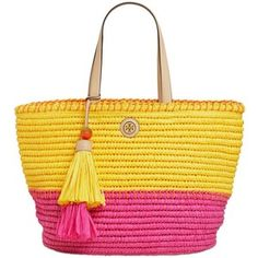 Tory Burch Two Tone Straw Tote Bag With Tassels