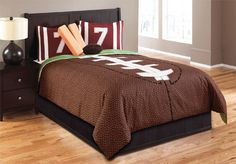 Touchdown by Hallmart Collection definitely scores with great style and fun decorative cushions. The comforter looks like the football itself, the pillow sham are styled after the jersey, and the goal markers and football are the decorative pillows included with the set. Cheer on your team with this fun bedding set that is perfect for the sports enthusiast. The Touchdown is available in Twin and Full size sets only. Sets include the comforter, bed skirt, pillow sham, and decorative pillows…