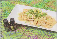 Lemon chicken & penne pasta Hvidløg og Lemon æterisk olie vil give en intens smag i denne kylling og pasta ret. Serveret med en let salat og en skive brød Dette er et måltid din familie vil nyde  mere på web http://www.deeptouch.info/#!lemonchicken-pennepasta/c243g