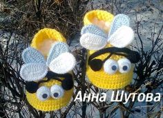 """Пинетки """"пчелки"""" - дети,новорожденному,вязаные игрушки,вязаные пинетки ♥"""
