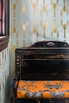 Fabulous gold lobster wallpaper and nautical Toile bench at the Mercury Inn, Portland Maine (decor by Tyler Karu)
