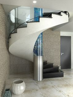 helical stair with artificial aquarium in the stair eye. Designed by Siller…