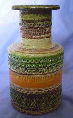 Color scheme... Pottery Vase green orange brown Italy
