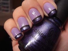 I think I need to get some purple polish now. =) From Site: I started off with Forever 21's Love & Beauty polish in Lavender. Then OPI's Lincoln Park After Dark Matte for tips. Added ChG (China Glaze) C-C-Courage to it.
