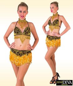 Latin Two Piece Franja Pieza Dress Salsa Latin Fringe Outfit Custom-Made Fringe Skirt, Fringe Fabric, Kinds Of Dance, Salsa Dress, Dress Robes, Floral Lace, Stretch Fabric, Custom Made, Sequins